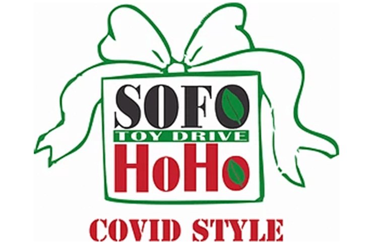 SOFO toy drive covid style banner.